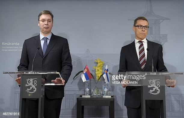 Serbian Prime Minister Aleksandar Vucic and his Finnish counterpart Alexander Stubb give a joint press conference after their meeting at the Prime...