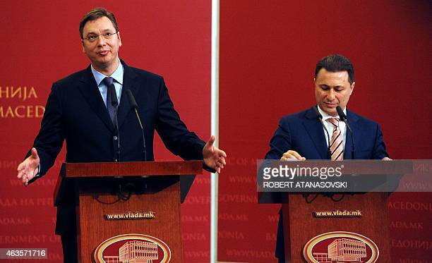 Serbian Prime Minister Aleksandar Vucic and his Macedonian counterpart Nikola Gruevski deliver a press conference in the Government building in...