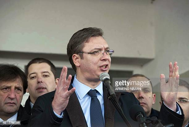 Serbian Prime Minister Aleksandar Vucic gives an address during his visit to the village of Pasjane in Kosovo on January 14 2015 Vucic launched a...