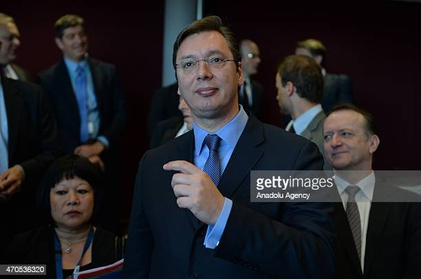 Serbian prime minister Aleksandar Vucic is seen during the prime ministers of west Balkan states meeting in Brussels Belgium on April 21 2015