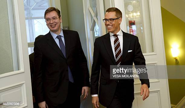 Serbian Prime Minister Aleksandar Vucic is welcomed by his Finnish counterpart Alexander Stubb as they meet at the Prime Minister's official...