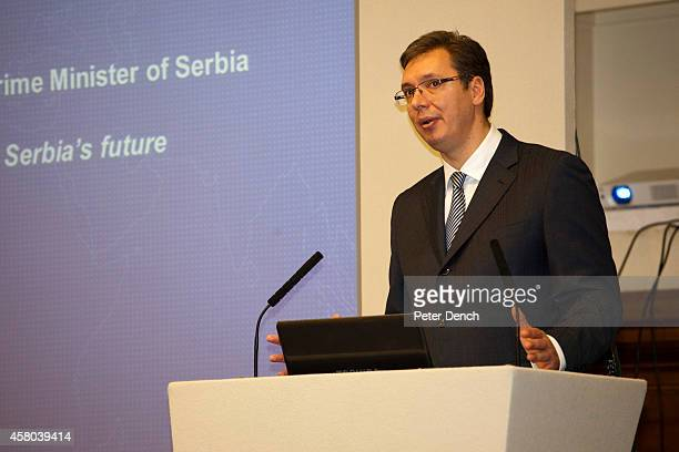 Serbian Prime MInister Aleksandar Vucic makes a speech at the Serbia Investment Day at Central Hall Westminster on October 29 2014 in London United...