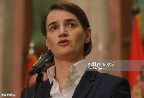 Serbian Prime Minister Ana Brnabic delivers a speech after she received vote of confidence at the National Assembly in Belgrade Serbia on June 29 2017