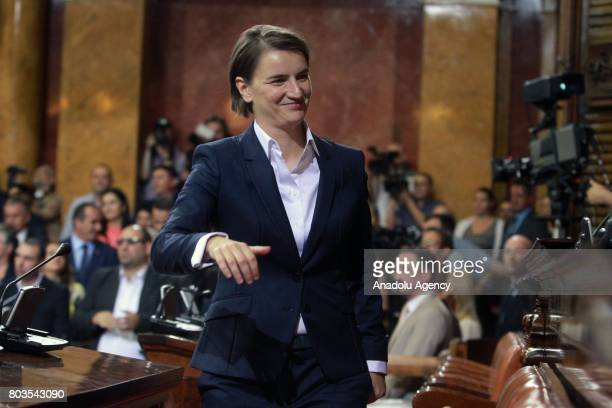 Serbian Prime Minister Ana Brnabic gestures after she received vote of confidence at the National Assembly in Belgrade Serbia on June 29 2017