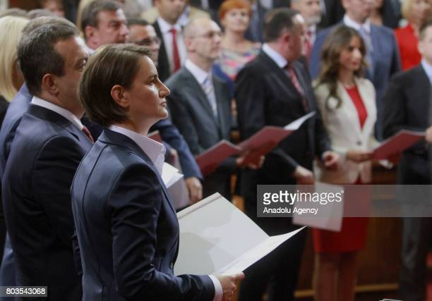 Serbian Prime Minister Ana Brnabic is seen after she received vote of confidence at the National Assembly in Belgrade Serbia on June 29 2017