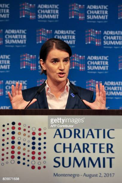 Serbian Prime Minister Ana Brnabic speaks during the Adriatic Charter Summit in Podgorica on August 2 2017 / AFP PHOTO / Savo PRELEVIC