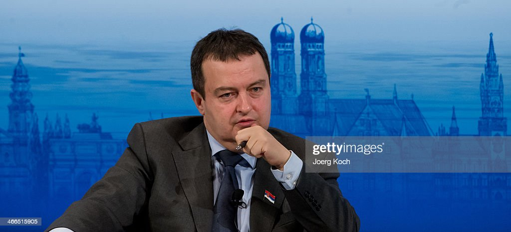 Serbian Prime Minister <a gi-track='captionPersonalityLinkClicked' href=/galleries/search?phrase=Ivica+Dacic&family=editorial&specificpeople=5427949 ng-click='$event.stopPropagation()'>Ivica Dacic</a> attends a panel discussion during the 50th Munich Security Conference in the Bayerischer Hof hotel on February 2, 2014 in Munich, Germany. The annual event brings together leading representatives from nations across the globe and among this year's main topics of discussion are the war in Syria, security vs. freedom in cyberspace and the future of European defense.