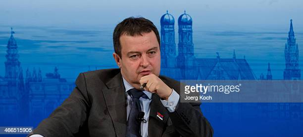 Serbian Prime Minister Ivica Dacic attends a panel discussion during the 50th Munich Security Conference in the Bayerischer Hof hotel on February 2...