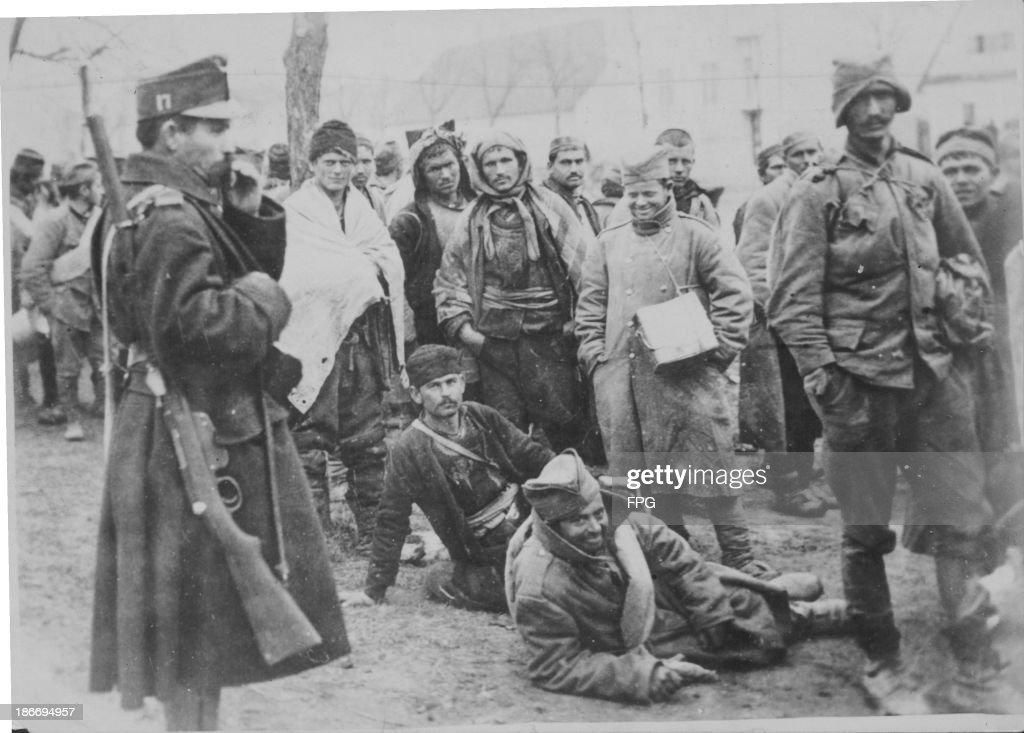 Serbian prisoners of war awaiting transportation into Austria during World War One circa 19181919