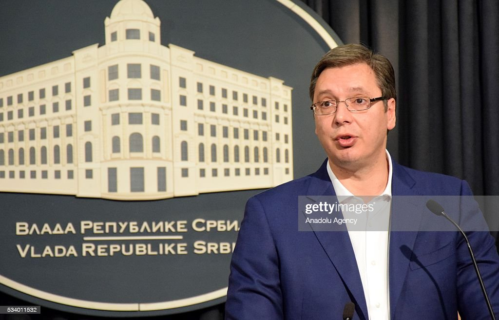 Serbian Progressive Party (SNS) leader Aleksandar Vucic speaks to the media after Serbia's President Tomislav Nikolic has given the mandate to form a new government to Vucic, in Belgrade, Serbia on May 24, 2016.