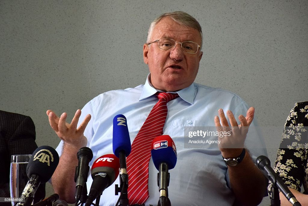 Serbian Radical Party (SRS) Leader Vojislav Seselj holds a press conference in Belgrade, Serbia on May 5, 2016. Vojislav Seselj asserts that fraud have been done during last elections.