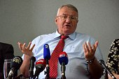 Serbian Radical Party Leader Vojislav Seselj holds a press conference in Belgrade Serbia on May 5 2016 Vojislav Seselj asserts that fraud have been...