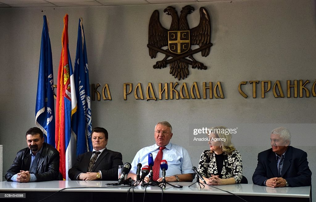 Serbian Radical Party (SRS) Leader Vojislav Seselj (C) holds a press conference in Belgrade, Serbia on May 5, 2016. Vojislav Seselj asserts that fraud have been done during last elections.