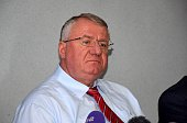 Serbian Radical Party leader Vojislav Seselj who has been acquitted of a series of charges at a war crimes tribunal at The Hague speaks during a...
