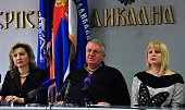 Serbian Radical Party leader Vojislav Seselj whose war crimes verdict is due on March 31 delivers a speech during a press conference in Belgrade...