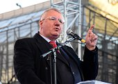 Serbian Radical Party ultranationalist leader Vojislav Seselj gives a speech during a antigovernment demonstration protesting ICTY's decision for...