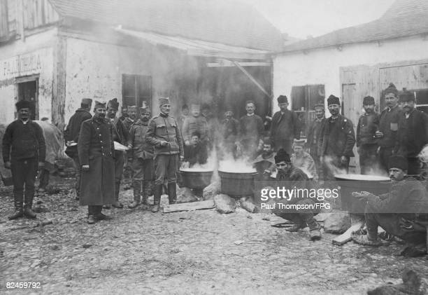 Serbian reservists preparing their meals during the Balkan Crisis of World War I circa 1914