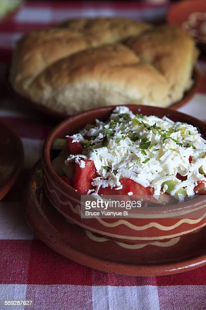 Serbian salad with Kaymak cream