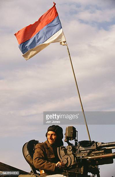 A Serbian soldier leaves the Sarajevo airport which is now under the UN's control