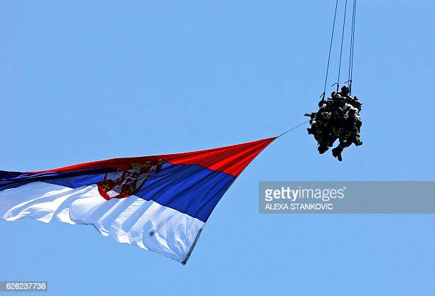 Serbian special military forces carry their national flag during joint military training called 'Danube Guard 07' with Romanian and Bulgarian...