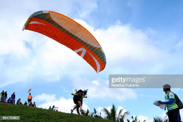 Serbian Tamara Kostic competes during the Paragliding Accuracy World Cup 1st Series 2017 at Mount Tumpa on March 18 2017 in Manado Indonesia