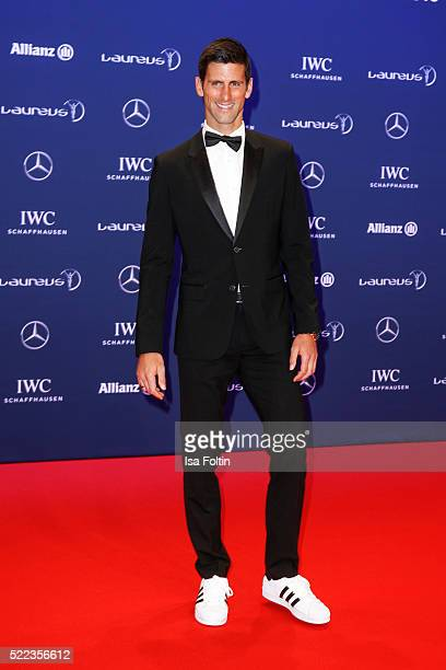 Serbian tennis palyer Novak Djokovic attends the Laureus World Sports Awards 2016 on April 18 2016 in Berlin Germany