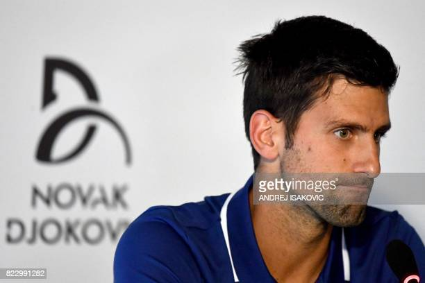 Serbian tennis player Novak Djokovic delivers a press conference in Belgrade on July 26 2017 Twelvetime Grand Slam champion Novak Djokovic will miss...