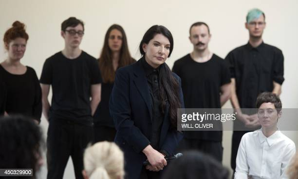 Serbianborn performance artist Marina Abramovic attends a press conference to announce her latest durational performance at the Serpentine Gallery in...