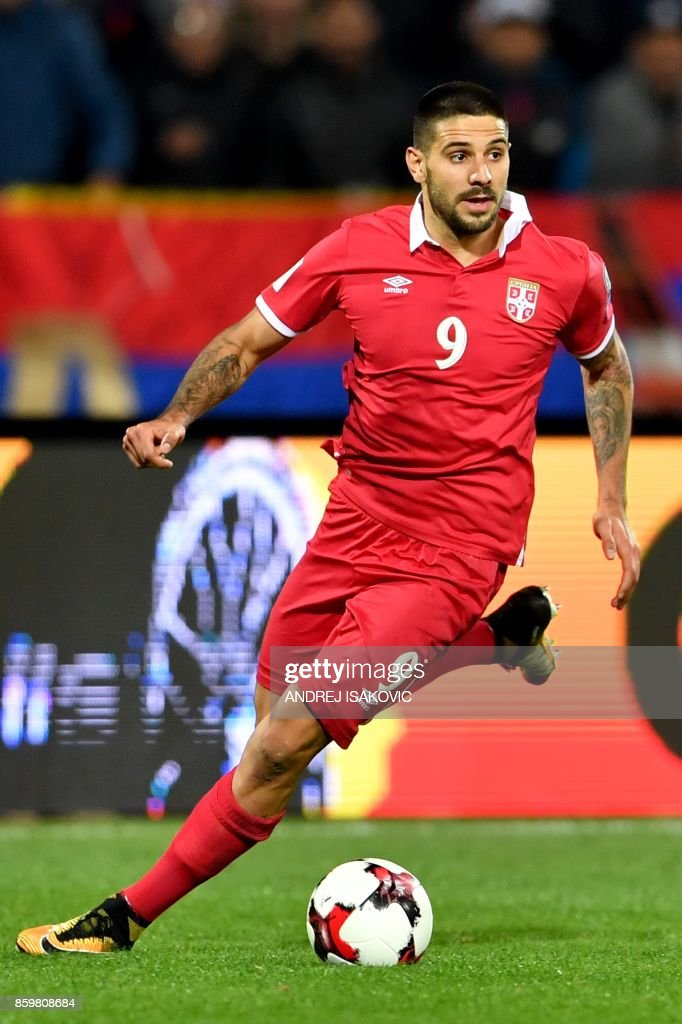 Serbia's Aleksandar Mitrovic controls the ball during the FIFA World Cup 2018 football qualification match between Serbia and Georgia at Rajko Mitic stadium in Belgrade on October 9, 2017. /