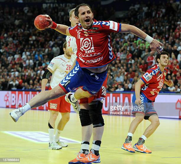 Serbia's Alem Toskic jumps to score during the men's EHF Euro 2012 Handball Championship final Serbia vs Denmark on January 29 2012 at the Beogradska...