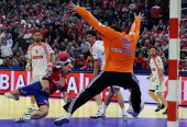 Serbia's Alem Toskic tries to score in front of Croatia's goalkeeper Mirko Alilovic during the men's EHF Euro 2012 Handball Championship semifinal...