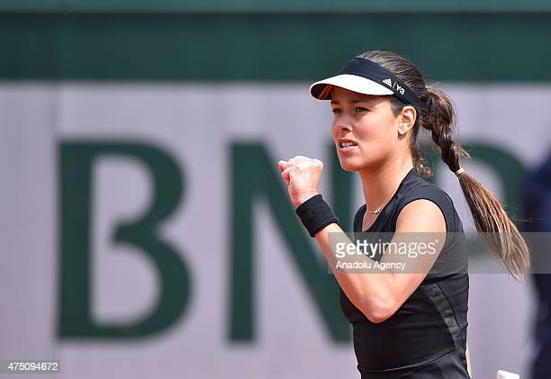 Serbia's Ana Ivanovic reacts as she plays against Donna Vekic of Croatia during their third round match for the French Open tennis tournament at...