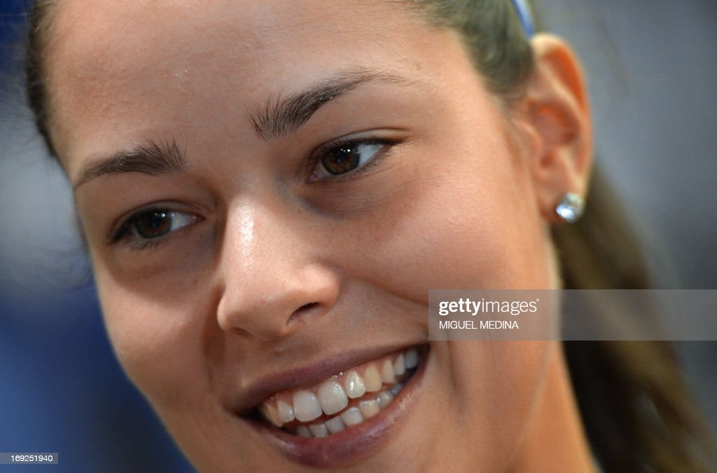 Serbia's Ana Ivanovic smiles as she signs autographs in a sportswear store in Paris on May 22, 2013, two days ahead of the French Tennis Open tournament.