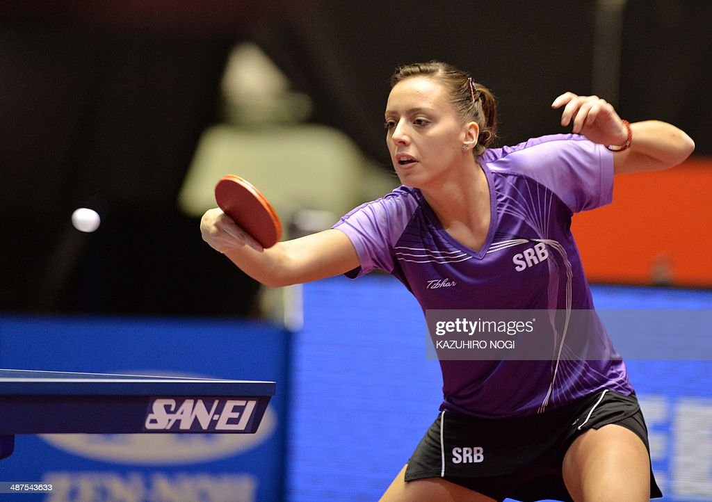 Serbia's Andrea Todorovic returns a shot against Germany's Sabine Winter during their match at the women's team championship division group D at the 2014 World Team Table Tennis Championships in Tokyo on May 1, 2014.
