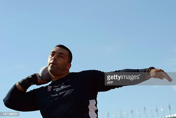 Serbia's Asmir Kolasinac competes in the men's shot put qualifications at the 2012 European Athletics Championships at the Olympic Stadium in...