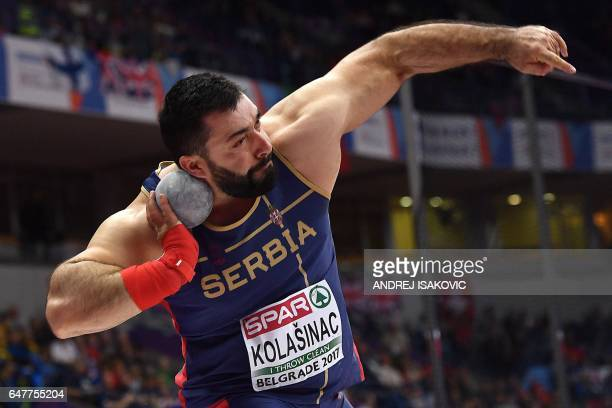 Serbia's Asmir Kolasinac competes in the men's shot put qualifications at the 2017 European Athletics Indoor Championships in Belgrade on March 4...
