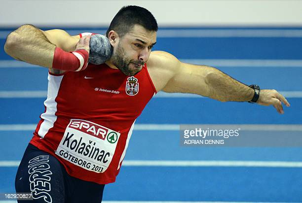 Serbia's Asmir Kolasinac competes to win the final of the men's Shot Put event at the European Indoor athletics Championships in Gothenburg Sweden on...