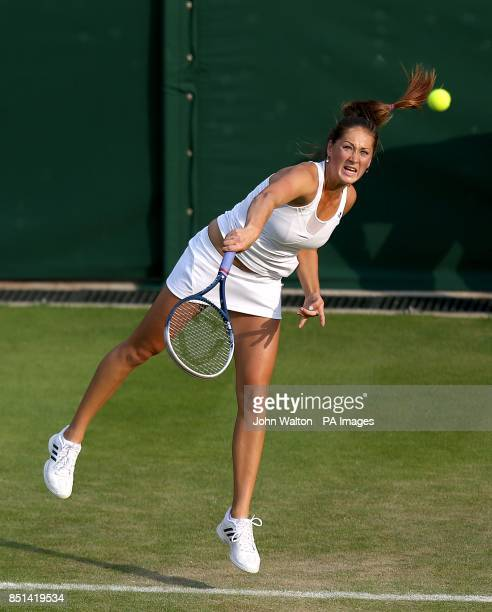 Serbia's Bojana Jovanovski in action against Belgium's Kirsten Flipkens during day three of the Wimbledon Championships at The All England Lawn...