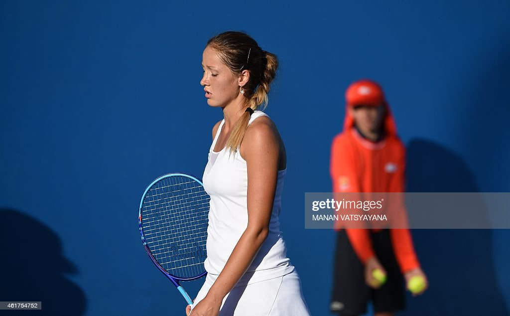 Serbia's <a gi-track='captionPersonalityLinkClicked' href=/galleries/search?phrase=Bojana+Jovanovski&family=editorial&specificpeople=4836646 ng-click='$event.stopPropagation()'>Bojana Jovanovski</a> reacts during her women's singles match against Italy's Roberta Vinci on day one of the 2015 Australian Open tennis tournament in Melbourne on January 19, 2015. AFP PHOTO / MANAN VATSYAYANA-- IMAGE RESTRICTED TO EDITORIAL USE - STRICTLY NO COMMERCIAL USE