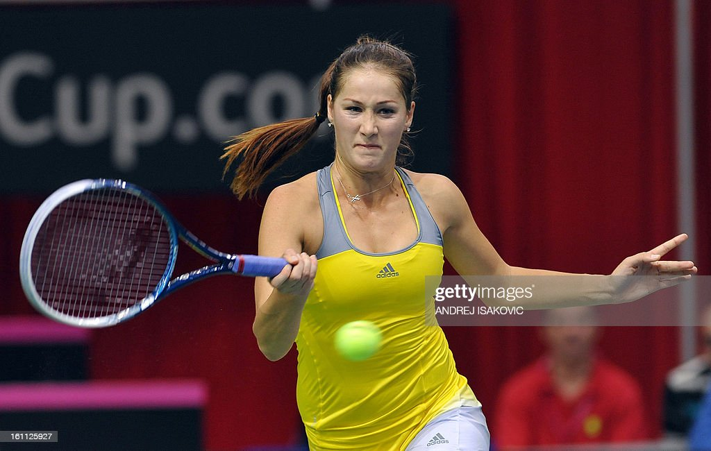 Serbia's Bojana Jovanovski returns the ball to Slovakia's Daniela Hantuchova during their 2013 Fed cup World Group first round tie tennis match between Serbia and Slovakia on February 9, 2013, in Nis. AFP PHOTO / ANDREJ ISAKOVIC