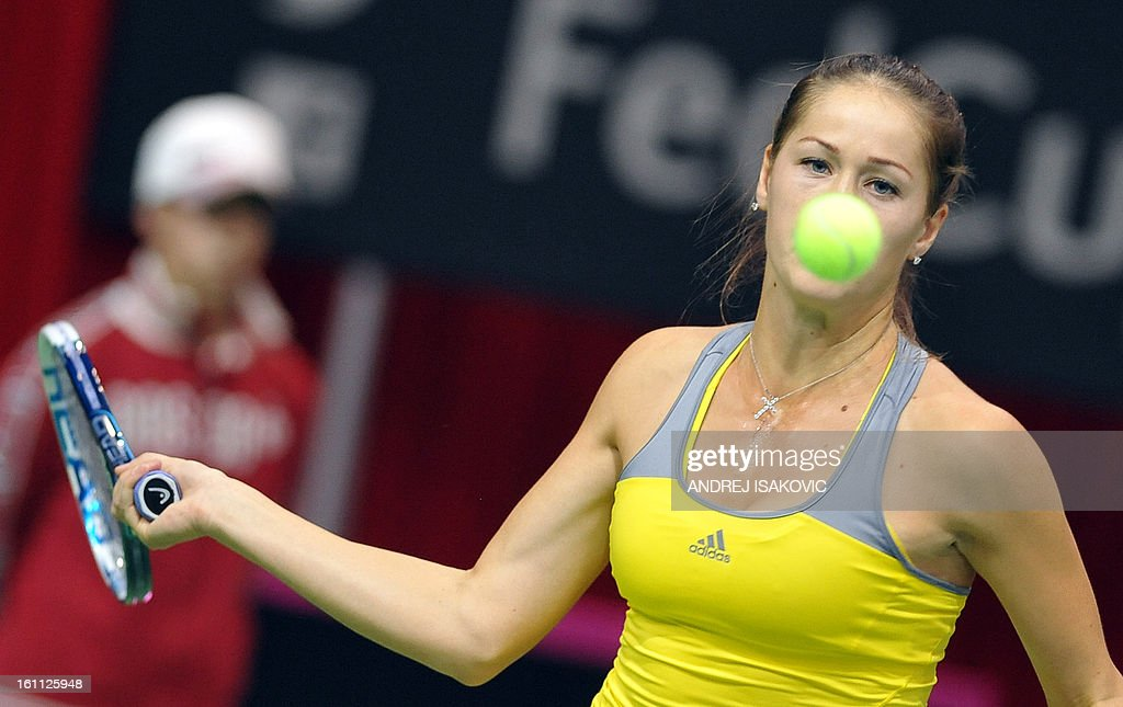 Serbia's Bojana Jovanovski returns the ball to Slovakia's Daniela Hantuchova during their 2013 Fed cup World Group first round tie tennis match between Serbia and Slovakia on February 9, 2013, in Nis.