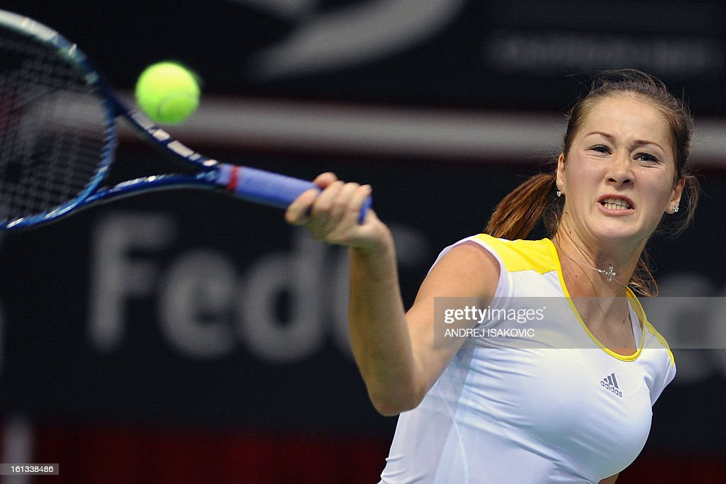 Serbia's Bojana Jovanovski returns the ball to Slovakia's Jana Cepelova during the Fed cup World group first round tie tennis match between Serbia and Slovakia on February 10, 2013, in Nis.