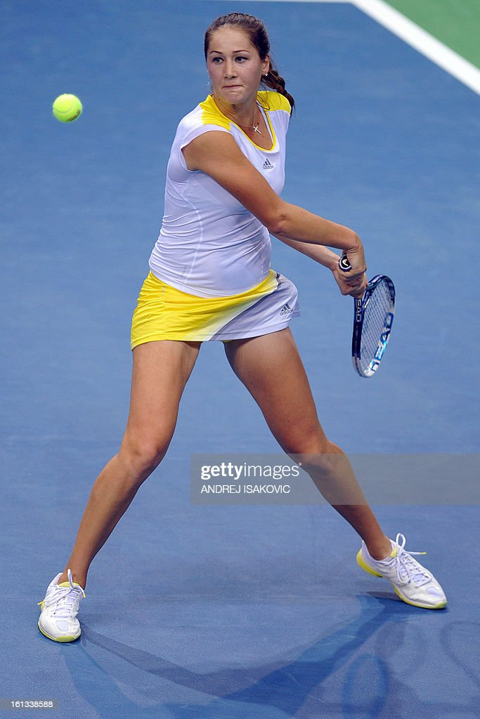 Serbia's Bojana Jovanovski returns the ball to Slovakia's Jana Cepelova during the Fed cup World group first round tie tennis match between Serbia and Slovakia on February 10, 2013, in Nis. AFP PHOTO / ANDREJ ISAKOVIC