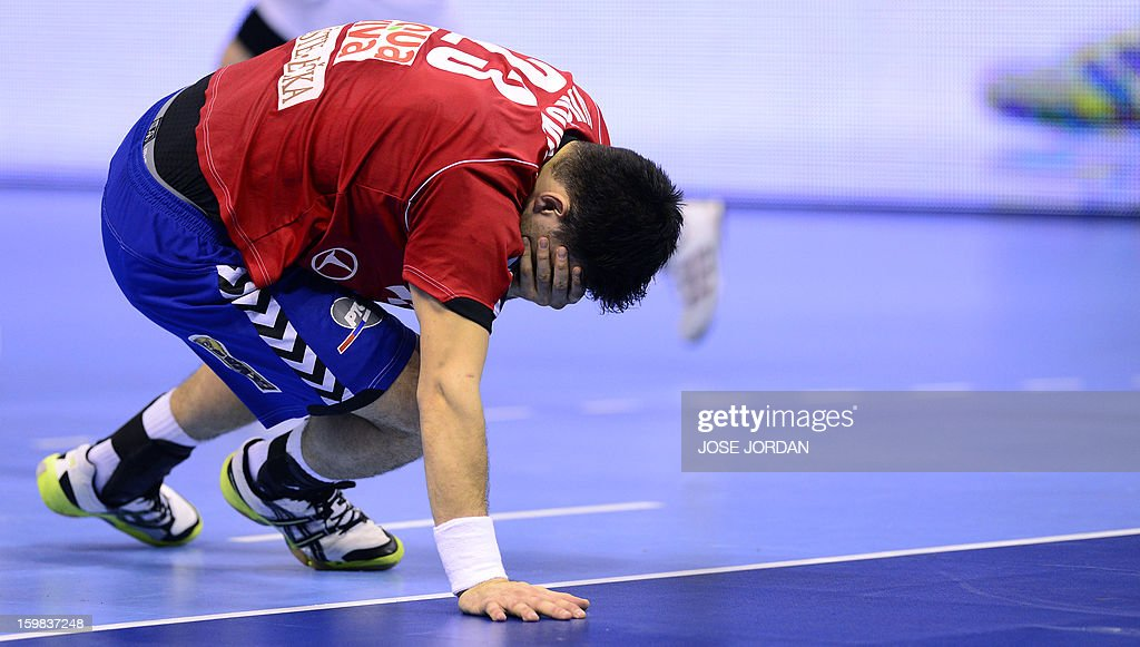 Serbia's centre back Nenad Vuckovic reacts during the 23rd Men's Handball World Championships round of 16 match Serbia vs Spain at the Pabellon Principe Felipe in Zaragoza on January 21, 2013. AFP PHOTO/ JOSE JORDAN