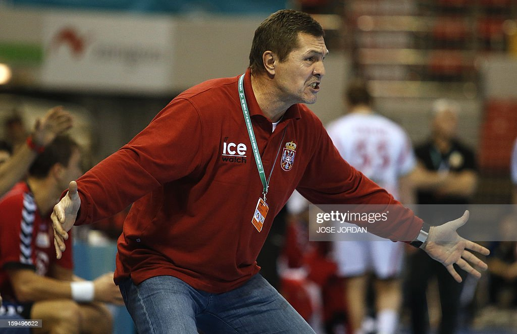 Serbia's coach Veselin Vukovic reacts during the 23rd Men's Handball World Championships preliminary round Group C match Belarus vs Serbia at the Pabellon Principe Felipe in Zaragoza on January 14, 2013.
