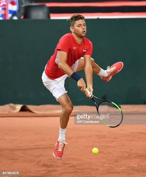 Serbia's Filip Krajinovic returns the ball during the Davis Cup semifinal tennis match France against Serbia at the Pierre Mauroy Stadium in Lille...
