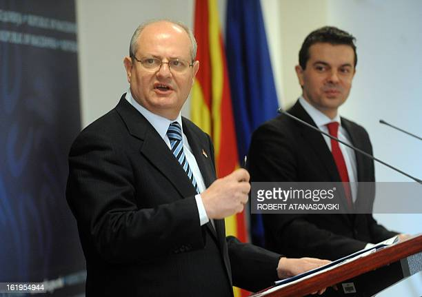 Serbia's Foreign Minister Ivan Mrkic speaks beside his Macedonian counterpart Nikola Poposki after their meeting in Skopje on February 18 2013 AFP...