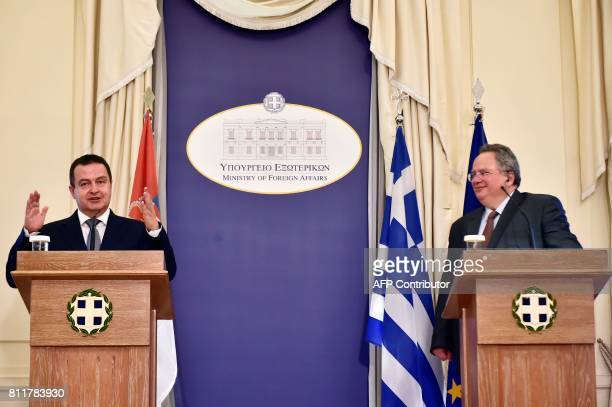 Serbia's Foreign Minister Ivica Dacic speaks during a press conference with his Greek counterpart Nikos Kotzias on July 10 2017 in Athens / AFP PHOTO...