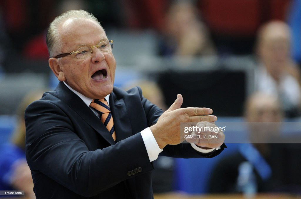 Serbia's head coach Dusan Ivkovic gestures during the EuroBasket 2013 Championship group B match between Serbia and Bosnia and Herzegovina in Jesenice on September 5, 2013.