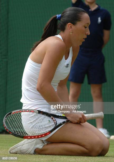 Serbia's Jelena Jankovic appears dejected duing her match against Czech Republic's Lucie Safarova during The All England Lawn Tennis Championship at...